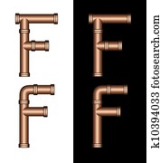 Copper Tubing Fittings 3D Letter F