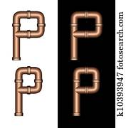 Copper Tubing Fittings 3D Letter P