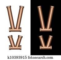 Copper Tubing Fittings 3D Letter V