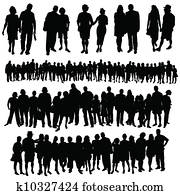 couple and big group of people vector silhouette