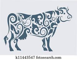 Cow tribal design vector