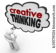 Creative Thinking Person Thought Bubble Brainstorm Idea