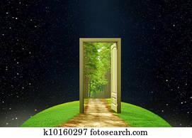 Creativity earth and imagination opened door