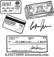 Credit and finance items sketch