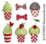 Cupcakes set. Decorative elements
