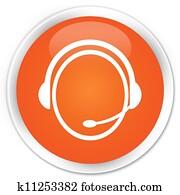 Customer service icon orange button