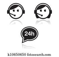 Customer service icons set