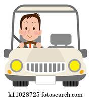 cute driver man in white car
