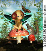 Cute Fairy On A Toadstool