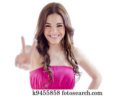 Young Girl Making Peace Sign Two Fingers Stock Images Our Top