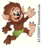 Cute Werewolf Cartoon Character