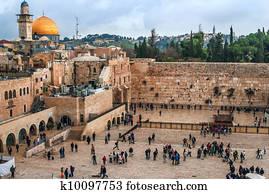 dass, westliche, wall,, tempel, mount,, jerusalem