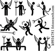 Devil Angel Friend Enemy Symbol