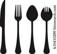 Eating utensils vector silhouettes