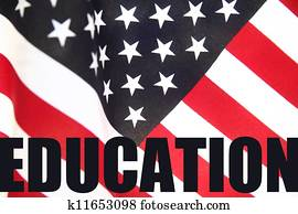 education word on American flag