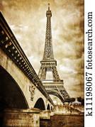 Eiffel tower vintage retro view from Seine river, Paris