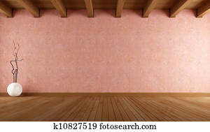 empty room with stucco wall