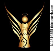 engelchen, symbol, gold, verziehrung