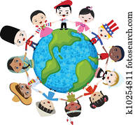 erde, multikulturell, kindern