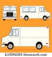 essen, lastwagen, leer