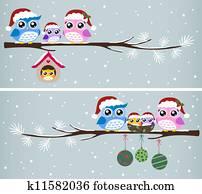 eule, familie weihnachten, feier