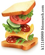 exploded view of sandwich ingredients