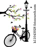 fahrrad, mit, lamp,, blumen, und, baum