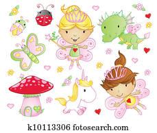 Fairy Princess Flowers animal set