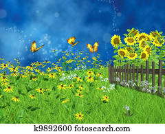fairy tale lawn with sunflowers