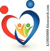 familie, gewerkschaft, in, a, herz gestalt, logo