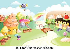 Fantasy sweet food land