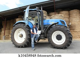 Farmer with his tractor