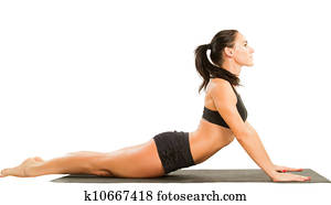 fitness woman make stretch on yoga and pilates pose on isolated white background The concept of Sport and Health