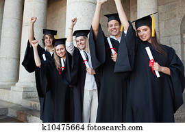 dd43b4e0612 Stock Photo of 1930S 1940S Three University Students Cap Gown ...