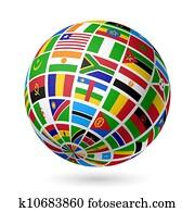 flaggen, globe., afrika.