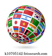 flaggen, globe., Asia.
