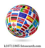 Flags globe. Europe.