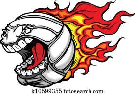 Flaming Volleyball Ball Screaming Face Vector Cartoon