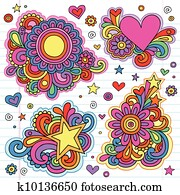 Flower Power Groovy Doodles Vectors