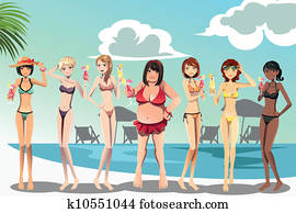 frauen, in, bikini