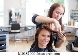 friseur, schneiden, client's, haar