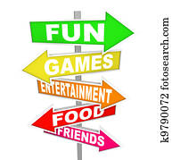 Fun Entertainment Activity Signs Pointing Directions