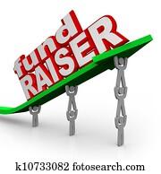 Fundraiser People Lifting Arrow Words Fund Raiser