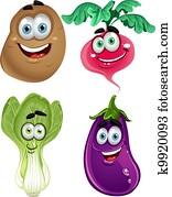 Funny cartoon cute vegetables 3