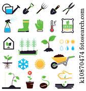 Gardening icons set