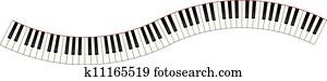gebogen, pianotastatur