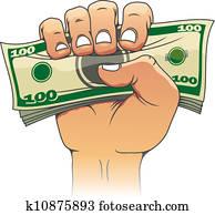 geld, in, leute, hand