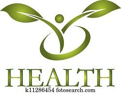 gesund, leben, logo, vektor