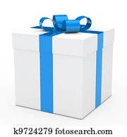 gift box blue ribbon
