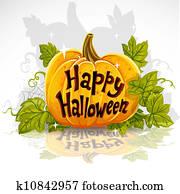 glücklich, halloween, schnitt heraus, kürbis